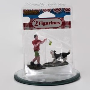 Man with Dog Figurines Table Accent Decor
